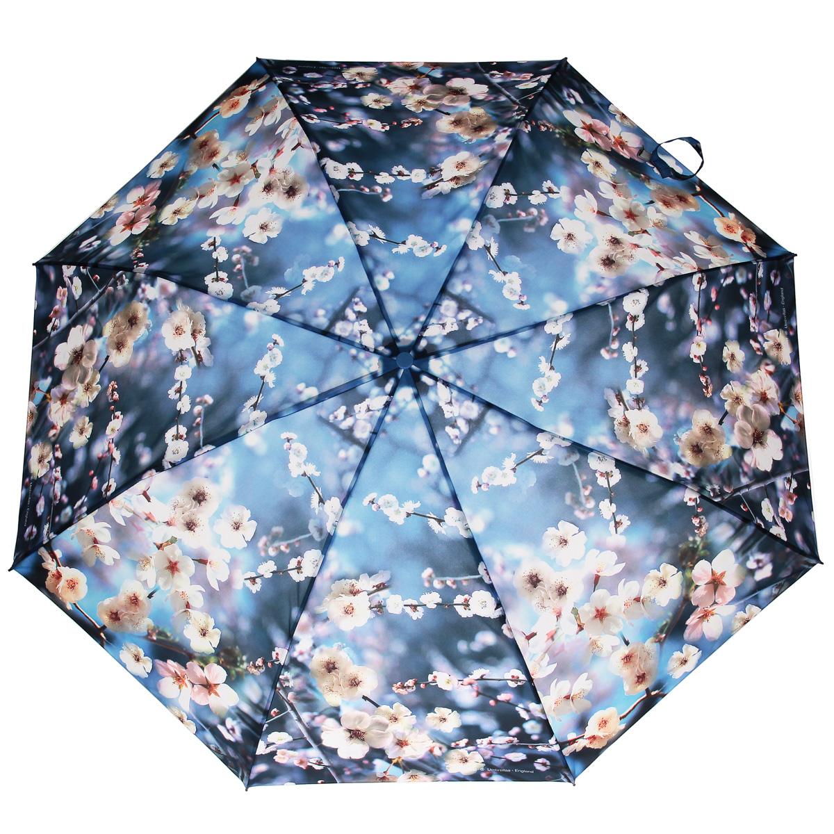Зонт женский Zest, автомат, 3 сложения, цвет: синий, белый. 23745-117323745-1173Модный автоматический зонт Zest в 3 сложения изготовлен из высокопрочных материалов. Каркас зонта состоит из 8 спиц из фибергласса и прочного алюминиевого стержня. Специальная система Windproof защищает его от поломок во время сильных порывов ветра. Купол зонта выполнен из прочного полиэстера с водоотталкивающей пропиткой и оформлен цветочным принтом. Используемые высококачественные красители обеспечивают длительное сохранение свойств ткани купола. Рукоятка, разработанная с учетом требований эргономики, выполнена из пластика синего цвета. Зонт имеет полный автоматический механизм сложения: купол открывается и закрывается нажатием кнопки на рукоятке, стержень складывается вручную до характерного щелчка. Благодаря этому открыть и закрыть зонт можно одной рукой, что чрезвычайно удобно при входе в транспорт или помещение. Небольшой шнурок, расположенный на рукоятке, позволяет надеть изделие на руку при необходимости. Модель закрывается при помощи ремня на липучке. К зонту...