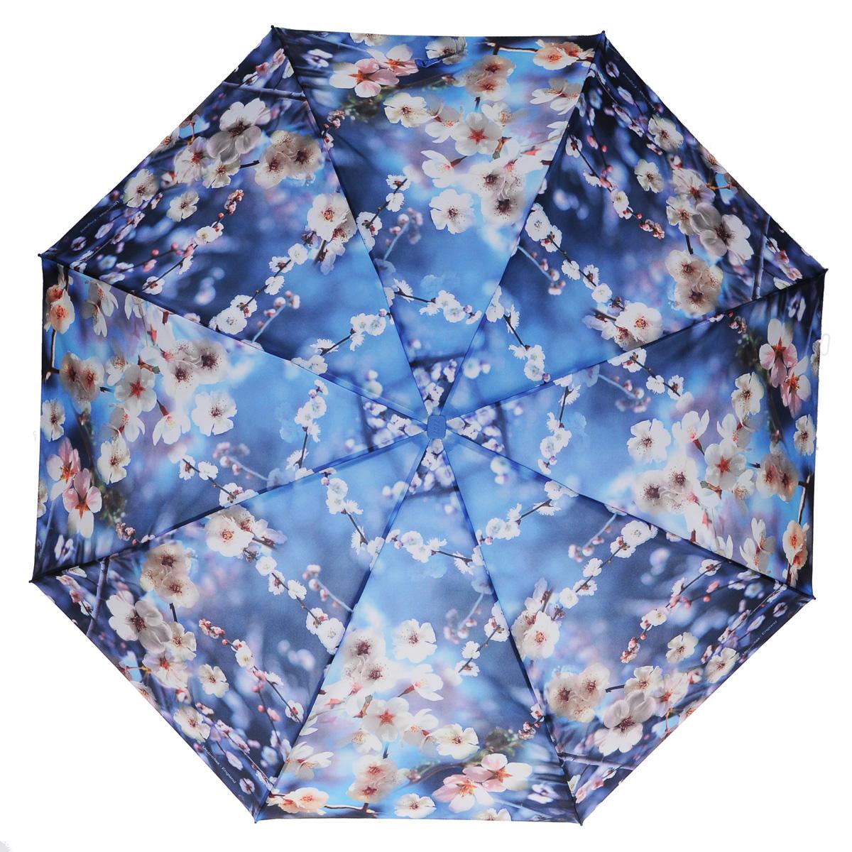 Зонт женский Zest, автомат, 3 сложения, цвет: синий, белый. 23815-117323815-1173Модный автоматический зонт Zest в 3 сложения изготовлен из высокопрочных материалов. Каркас зонта состоит из 8 спиц из фибергласса и прочного алюминиевого стержня. Специальная система Windproof защищает его от поломок во время сильных порывов ветра. Купол зонта выполнен из прочного полиэстера с водоотталкивающей пропиткой и оформлен цветочным принтом. Используемые высококачественные красители обеспечивают длительное сохранение свойств ткани купола. Рукоятка, разработанная с учетом требований эргономики, выполнена из пластика синего цвета. Зонт имеет полный автоматический механизм сложения: купол открывается и закрывается нажатием кнопки на рукоятке, стержень складывается вручную до характерного щелчка. Благодаря этому открыть и закрыть зонт можно одной рукой, что чрезвычайно удобно при входе в транспорт или помещение. Небольшой шнурок, расположенный на рукоятке, позволяет надеть изделие на руку при необходимости. Модель закрывается при помощи ремня на липучке. К зонту...