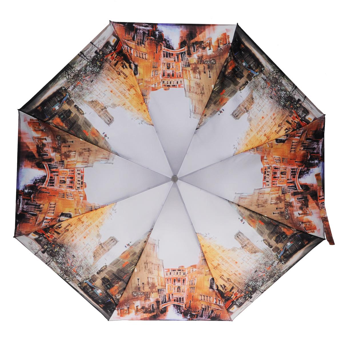 Зонт женский Zest, автомат, 4 сложения, цвет: серый. 24985-911324985-9113Эффектный автоматический зонт Zest в 4 сложения изготовлен из высокопрочных материалов. Каркас зонта состоит из 8 спиц из фибергласса и прочного алюминиевого стержня. Специальная система Windproof защищает его от поломок во время сильных порывов ветра. Купол зонта выполнен из прочного полиэстера с водоотталкивающей пропиткой и оформлен изображением городских пейзажей. Используемые высококачественные красители обеспечивают длительное сохранение свойств ткани купола. Рукоятка, разработанная с учетом требований эргономики, выполнена из пластика. Зонт имеет полный автоматический механизм сложения: купол открывается и закрывается нажатием кнопки на рукоятке, стержень складывается вручную до характерного щелчка. Благодаря этому открыть и закрыть зонт можно одной рукой, что чрезвычайно удобно при входе в транспорт или помещение. Небольшой шнурок, расположенный на рукоятке, позволяет надеть изделие на руку при необходимости. Модель закрывается при помощи ремня на липучке. К...
