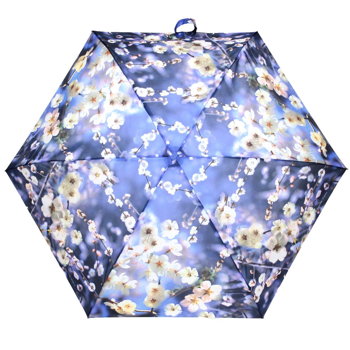 Зонт женский Zest, механический, 5 сложений, цвет: голубой. 25515-117325515-1173Женский механический зонт Zest в 5 сложений даже в ненастную погоду позволит вам оставаться стильной и элегантной. Каркас зонта состоит из 6 спиц из фибергласса и прочного алюминиевого стержня. Специальная система Антиветер защищает его от поломок во время сильных порывов ветра. Купол зонта выполнен из прочного полиэстера с водоотталкивающей пропиткой и оформлен красочным изображением. Рукоятка, разработанная с учетом требований эргономики, выполнена из пластика. Компактные размеры зонта позволяют без труда разместить его в сумочке. Зонт механического сложения: купол открывается и закрывается вручную до характерного щелчка. На рукоятке для удобства есть небольшой шнурок, позволяющий надеть зонт на руку тогда, когда это будет необходимо. Закрытый купол фиксируется хлястиком на липучке. К зонту прилагается чехол.