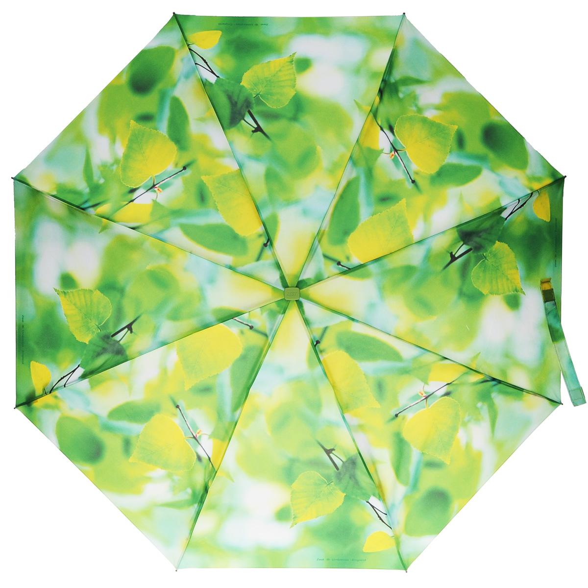 Зонт женский Zest, механический, 5 сложений, цвет: салатовый. 25515-228125515-2281Яркий механический зонт Zest в 5 сложений изготовлен из высокопрочных материалов. Каркас зонта состоит из 6 спиц из фибергласса и прочного алюминиевого стержня. Специальная система Windproof защищает его от поломок во время сильных порывов ветра. Купол зонта выполнен из прочного полиэстера с водоотталкивающей пропиткой и оформлен красочным изображением листвы. Используемые высококачественные красители обеспечивают длительное сохранение свойств ткани купола. Рукоятка, разработанная с учетом требований эргономики, выполнена из пластика. Зонт механического сложения: купол открывается и закрывается вручную до характерного щелчка. Небольшой шнурок, расположенный на рукоятке, позволяет надеть изделие на руку при необходимости. К зонту прилагается чехол. Такой зонт не только надежно защитит вас от дождя, но и станет стильным аксессуаром, который идеально подчеркнет ваш неповторимый образ.