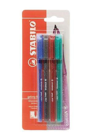 Набор цветных шариковых ручек Stabilo galaxy, 4 шт818/4-1BSTABILO galaxy 818. Шариковая ручка с заменяемым стержнем. Специальная технология фиксирования пишущего шарика защищает от утечки чернил, обеспечивает тонкую аккуратную линию и мягкое скольжение. Толщина линии F-0,3 мм. Характеристики: Толщина линии: 0,3 мм. Длина ручки: 14,5 см. Размер упаковки: 8 см х 20,5 см х 1,5 см.