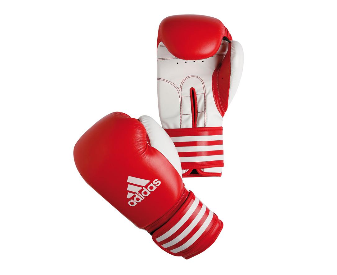 Перчатки боксерские Adidas Ultima Competition, цвет: красно-белый. adiBC02. Вес 12 унций