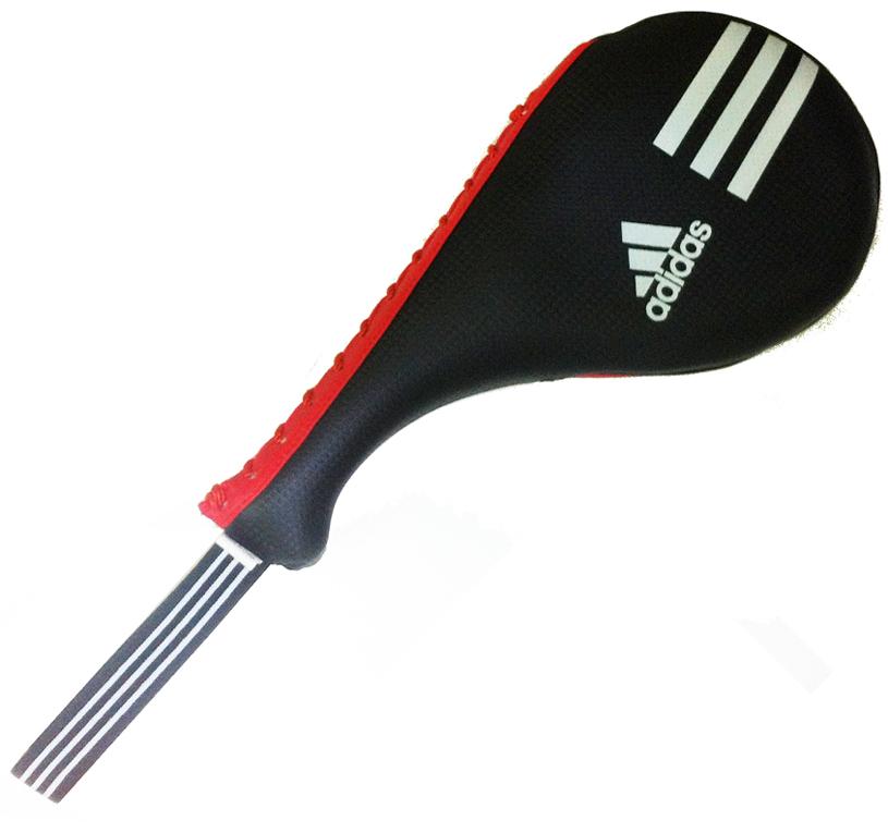 Ракетка для тхэквондо двойная Adidas Kids Double Target Mitt, цвет: красно-черный. Размер XS