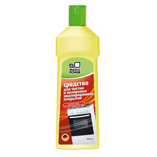 Средство для чистки эмалированных покрытий Magic Power, 500 млMP-027Средство Magic Power предназначено для чистки эмалированных поверхностей кухонных плит, микроволновых печей, духовых шкафов, вытяжек, ванн и другой техники во всем доме. Эффективное крем-молочко с фракцией мелкоабразивного вещества для удаления стойких загрязнений. Без особых усилий, тщательно и бережно очищает даже застарелые грязь, жир и известковые отложения. Не оставляет царапин и разводов. Мягко полирует поверхность. Очень экономично в использовании. С приятным ароматом лимона.