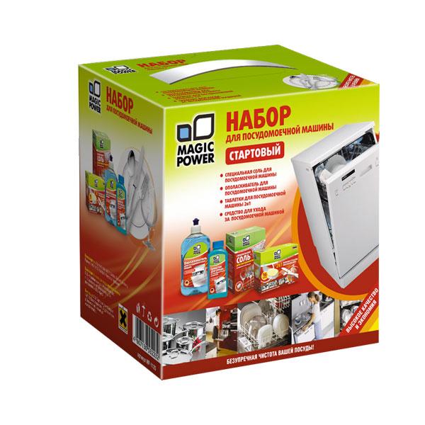 Набор для посудомоечной машины Magic Power, стартовый, 4 предметаMP-1120В набор Magic Power входят: - специальная соль Magic Power, которая обеспечивает эффективную работу посудомоечной машины. Используется для нормального функционирования ионообменника в устройстве смягчения воды, встроенном в посудомоечную машину. В областях с жесткой водой использование соли обязательно. Соль увеличивает ресурс посудомоечной машины, обеспечивает ее нормальную работу. Защищает нагревательный элемент от образования известкового налета и продлевает срок службы. Крупнокристаллические фракции соли максимально экономят расход средства. Для удобства использования соль расфасована в два пакета. Вес: 1,5 кг. - ополаскиватель Magic Power, который предназначен для ополаскивания посуды в посудомоечной машине. Натуральные компоненты, входящие в состав ополаскивателя, обеспечивают максимальный блеск и дезинфекцию, эффективно действуя на нагретой посуде. Средство обеспечивает быстрое высыхание без подтеков, пятен, известковых отложений....
