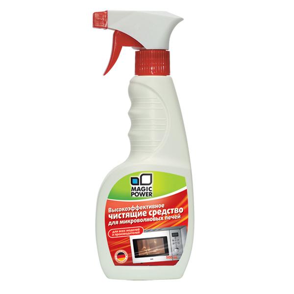 Чистящее средство для микроволновых печей Magic Power, 500 млMP-010Чистящее средство Magic Power эффективно удаляет жировые отложения с внутренних поверхностей микроволновой печи. В отличие от порошков, это средство обеспечивает антибактериальный эффект - удаляются все микроорганизмы и бактерии. Это позволяет готовить пищу в наилучших гигиенических условиях. Без запаха, абсолютно безопасно и не токсично. Не оставляет никаких следов на очищаемой поверхности. Безопасно для окружающей среды, биологически перерабатывается более чем на 90%. Подходит для всех моделей микроволновых печей.