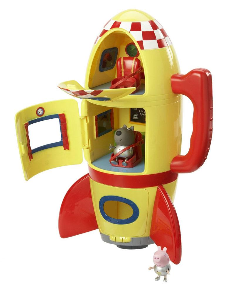 Игровой набор Peppa Pig Космический корабль Пеппы20832Игровой набор Космический корабль Пеппы, непременно понравится вашему ребенку и займет его внимание надолго. Набор включает в себя космический корабль, оборудованный удобной ручкой для переноски, фигурки волчонка Дэни и Джорджа. Джордж и Дэни могут сидеть, стоять, двигать ручками и ножками. Игрушки изготовлены из безопасного пластика. Космический корабль воспроизводит реалистичный звук взлетающей ракеты. Джордж и его друг волчонок Дэни, надев скафандры металлического цвета, отправляются в межгалактическое путешествие на трехъярусном космическом корабле. В каждом из трех отсеков находятся сидения, оборудованные ремнями безопасности, которые не дадут космонавтам выпасть во время полета. Все отделения летательного аппарата имеют собственный вход с закрывающейся дверью и иллюминатором. В космической ракете установлены бортовые приборы и доска с мелом. В таком надежном корабле отважным героям не страшны никакие трудности! Ваш ребенок с удовольствием будет играть с этим...