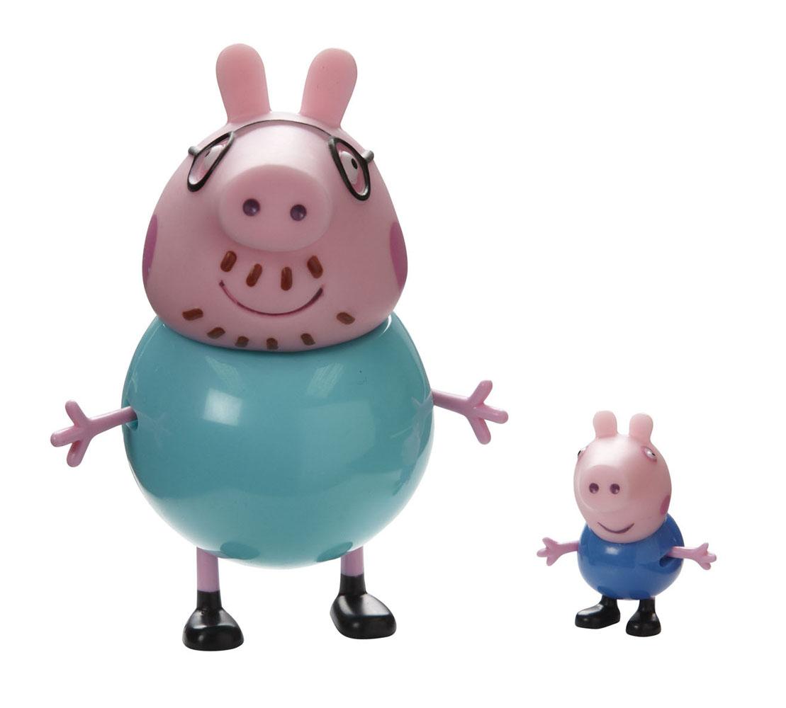 Игровой набор Peppa Pig Семья Пеппы: папа, сын20837Игровой набор Peppa Pig Семья Пеппы: папа, сын непременно понравится вашему ребенку и займет его внимание надолго. Набор включает две фигурки: Папу Свина и Джорджа. Ручки и ножки фигурок подвижны, что придает игре реалистичность. Ваш ребенок с удовольствием будет играть с этим набором, придумывая различные истории и составляя собственные сюжеты. Пеппа - симпатичная маленькая свинка, которая живет вместе со своими Мамой Свинкой, Папой Свином и маленьким братиком Джорджем. Пеппа обожает играть, наряжаться, бывать в новых местах и заводить новые знакомства, но самое любимое занятие Пеппы - прыгать в грязных лужах. Герои мультфильма наделены частично качествами людей, частично качествами животных. Они ходят в одежде, живут в домах, ездят на машинах, ходят на работу и в театр. Дети отмечают дни рождения, играют в парках, катаются на катках и занимаются всем, что присуще людям. В то же время свинки постоянно хрюкают, овечки блеют, а кошки мяукают.