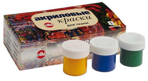 Набор акриловых красок для ткани Olki, 8 цветов405013Набор акриловых красок Olki предназначен для свободной росписи или нанесения трафаретного рисунка на различные виды тканей. Краски имеют яркие цвета и обладают хорошей светостойкостью и полностью совместимы между собой. Все краски могут разбавляться водой, но для достижения лучших результатов рекомендуется использовать специальный разбавитель. Время закрепления 3-5 минут. Стирать расписные изделия следует при 30-40°C с умеренной концентрацией нейтральных моющих средств.