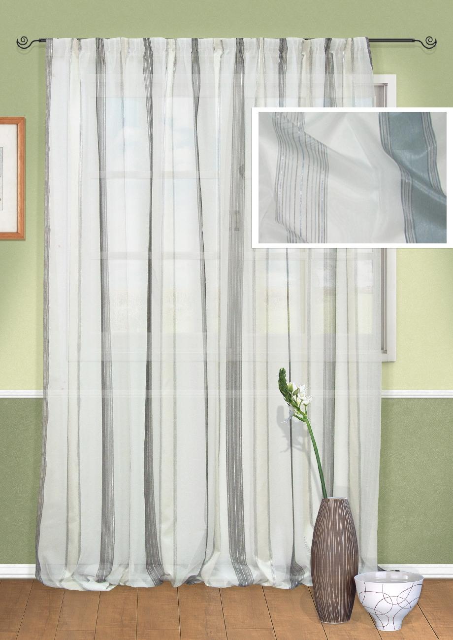 Штора Kauffort Гифу, на ленте, цвет: белый, серый, высота 295 см. UN111122140UN111122140Роскошная штора Kauffort Гифу выполнена из полиэстера. Материал является мягким на ощупь. Полупрозрачная ткань, приятная приглушенная гамма и принт в полоску привлекут к себе внимание и органично впишутся в интерьер помещения. Эта штора будет долгое время радовать вас и вашу семью! Штора крепится на карниз при помощи ленты, которая поможет красиво и равномерно задрапировать верх.