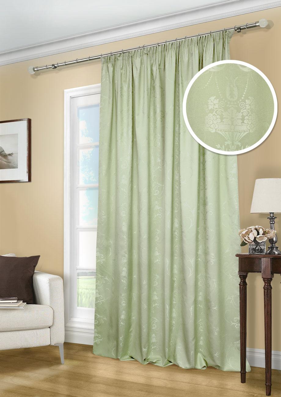 Штора Kauffort Лоренза, на ленте, цвет: зеленый, высота 275 см. UN111249680UN111249680Роскошная штора Kauffort Лоренза выполнена из полиэстера и вискозы. Материал плотный и мягкий на ощупь. Оригинальная текстура ткани и красивые узоры, привлекут к себе внимание и органично впишутся в интерьер помещения. Эта штора будет долгое время радовать вас и вашу семью! Штора крепится на карниз при помощи ленты, которая поможет красиво и равномерно задрапировать верх.
