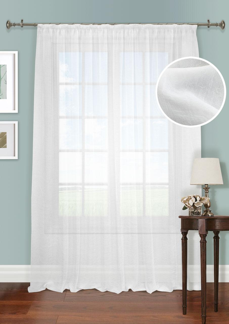 Штора Kauffort Креш, на ленте, цвет: белый, высота 285 см. UN111286110UN111286110Роскошная штора Kauffort Креш выполнена из полиэстера. Материал полупрозрачный и мягкий на ощупь. Оригинальная текстура с эффектом жатой ткани и приятная нежная гамма привлекут к себе внимание и органично впишутся в интерьер помещения. Эта штора будет долгое время радовать вас и вашу семью! Штора крепится на карниз при помощи ленты, которая поможет красиво и равномерно задрапировать верх.