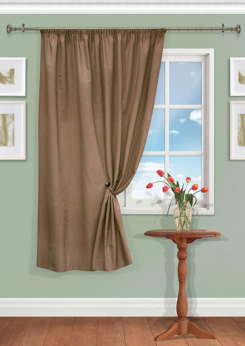 Штора Kauffort Рик, на ленте, цвет: коричневый, высота 180 см. UN111550630UN111550630Роскошная штора Kauffort Рик выполнена из полиэстера и хлопка. Материал плотный и мягкий на ощупь. Оригинальная текстура ткани и нежная цветовая гамма привлекут к себе внимание и органично впишутся в интерьер помещения. Эта штора будет долгое время радовать вас и вашу семью! Штора крепится на карниз при помощи ленты, которая поможет красиво и равномерно задрапировать верх.
