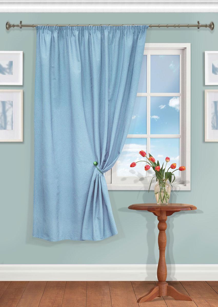 Штора Kauffort Рик, на ленте, цвет: голубой, высота 180 см. UN111550640UN111550640Роскошная штора Kauffort Рик выполнена из полиэстера и хлопка. Материал плотный и мягкий на ощупь. Оригинальная текстура ткани и нежная цветовая гамма привлекут к себе внимание и органично впишутся в интерьер помещения. Эта штора будет долгое время радовать вас и вашу семью! Штора крепится на карниз при помощи ленты, которая поможет красиво и равномерно задрапировать верх.