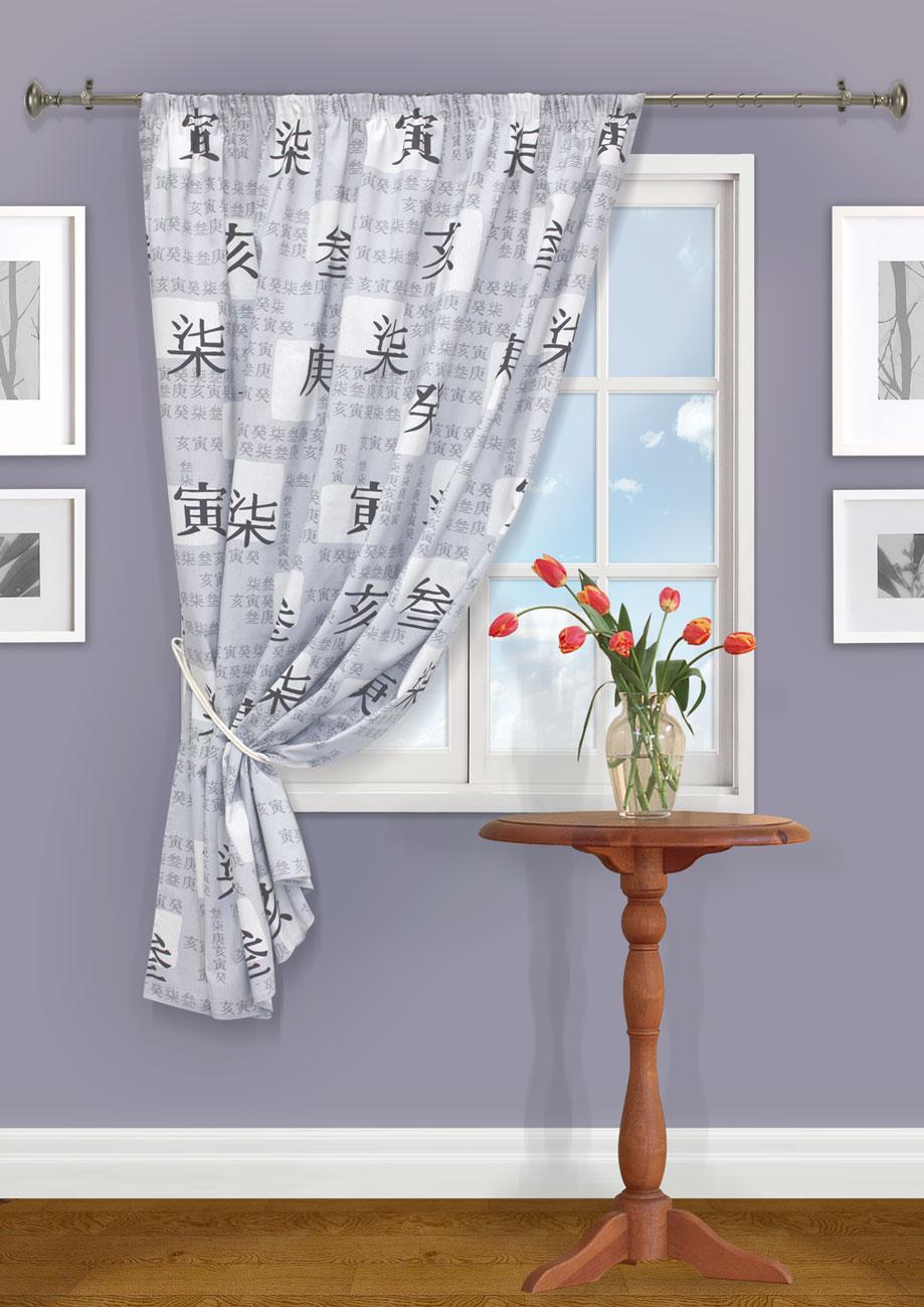 Штора Kauffort Иваки, на ленте, цвет: серый, высота 175 см. UN111585160UN111585160Роскошная штора Kauffort Иваки выполнена из полиэстера и хлопка. Материал является плотным и мягким на ощупь. Оригинальная текстура и приятная, приглушенная гамма ткани с изображением иероглифов, привлекут к себе внимание и органично впишутся в интерьер помещения. Эта штора будет долгое время радовать вас и вашу семью! Штора крепится на карниз при помощи ленты, которая поможет красиво и равномерно задрапировать верх.