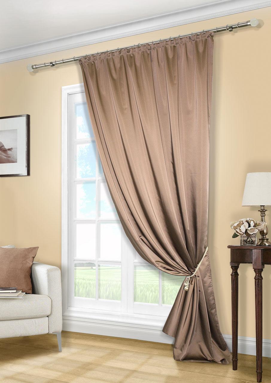 Штора KauffOrt Линд, на ленте, цвет: темно-коричневый, высота 280 смUN111888636Роскошная штора Kauffort Линд выполнена из приятного на ощупь полиэстера. Материал плотный, с мягким блеском, шелковистый. Полотно шторы надежно защищает комнату от солнечного света днем и от уличного освещения вечером. Оригинальная текстура ткани и яркая цветовая гамма привлекут к себе внимание и органично впишутся в интерьер помещения. Эта штора будет долгое время радовать вас и вашу семью! Штора крепится на карниз при помощи ленты, которая поможет красиво и равномерно задрапировать верх.