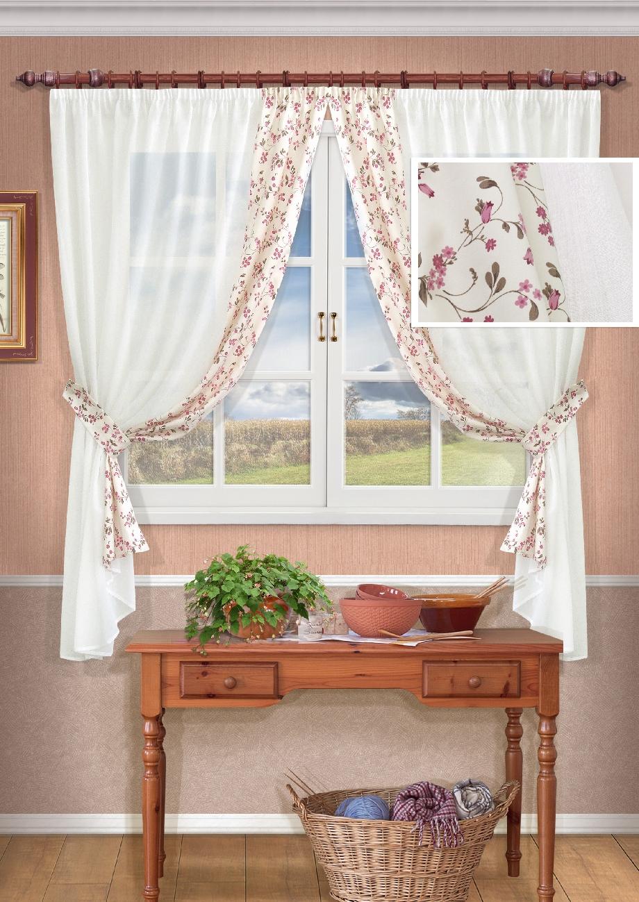 Комплект штор Kauffort Сиена-С, на ленте, цвет: шампань, высота 175 см. UN120510115UN120510115Роскошный комплект штор Kauffort Сиена-С, выполненный из полиэстера, великолепно украсит любое окно. Комплект состоит из 2 штор и 2 подхватов. Изделия выполнены из прозрачной ткани с цветочным орнаментом. Тонкое плетение, оригинальный дизайн и нежная цветовая гамма привлекут к себе внимание и органично впишутся в интерьер комнаты. Все предметы комплекта - на шторной ленте для собирания в сборки.
