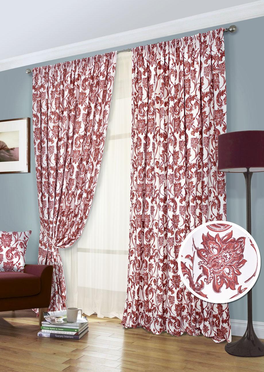 Комплект штор Kauffort Руан-С, на ленте, цвет: красный, высота 280 см. UN123152675UN123152675Роскошный комплект штор Kauffort Руан-С, выполненный из полиэстера, великолепно украсит любое окно. Комплект состоит из 2 штор и тюля. Изделия выполнены из мягкой ткани с красивыми узорами в виде цветов. Тонкое плетение, оригинальный дизайн и нежная цветовая гамма привлекут к себе внимание и органично впишутся в интерьер комнаты. Все предметы комплекта - на шторной ленте для собирания в сборки.