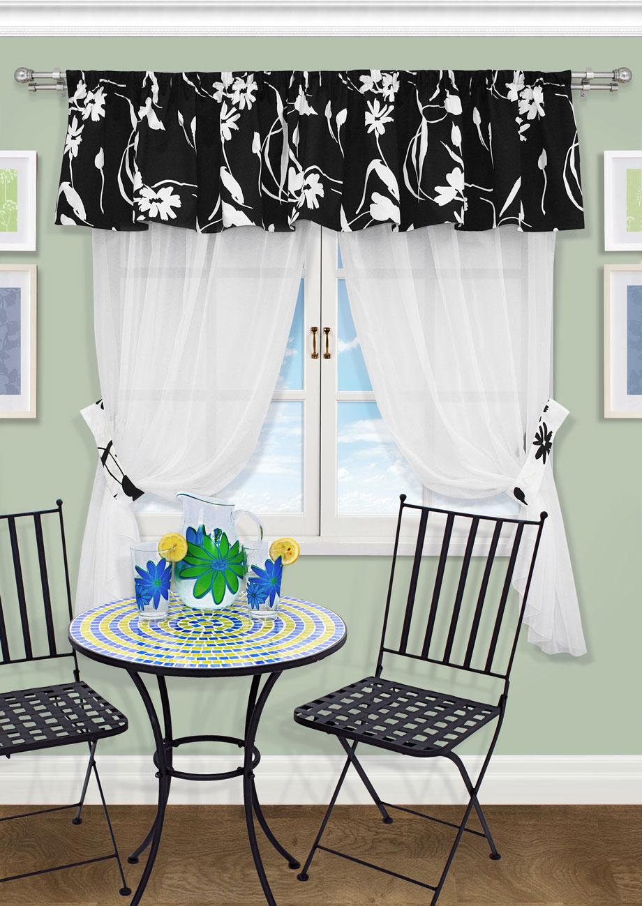 Комплект штор Kauffort Анцио-С, на ленте, цвет: черный, высота 170 см. UN123194690UN123194690Роскошный комплект штор Kauffort Анцио-С, выполненный из полиэстера, великолепно украсит любое окно. Комплект состоит из 2 штор, ламбрекена и 2 подхватов. Изделия выполнены из прозрачной ткани. Тонкое плетение, оригинальный дизайн и нежная цветовая гамма привлекут к себе внимание и органично впишутся в интерьер комнаты. Все предметы комплекта - на шторной ленте для собирания в сборки.