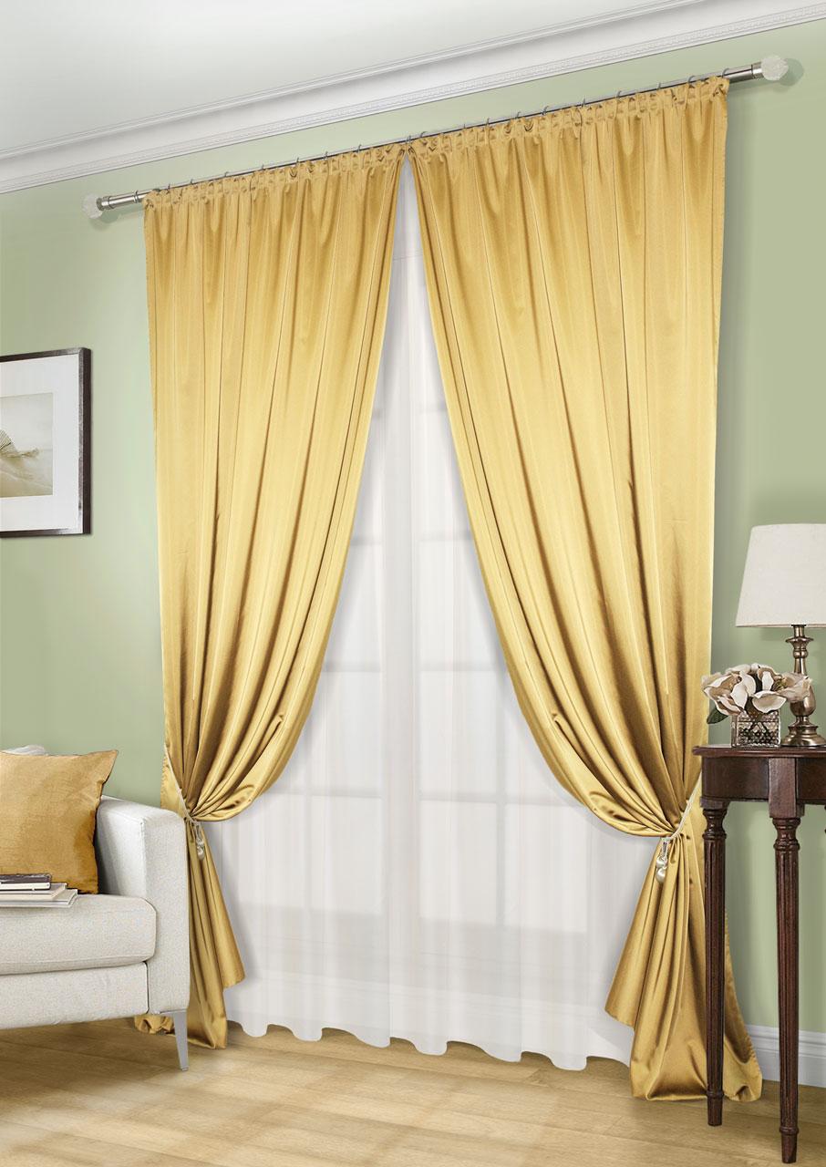 Комплект штор Kauffort Линд-C, на ленте, цвет: золотистый, экрю, высота 260 см. UN123300620UN123300620Роскошный комплект штор Kauffort Линд-C, выполненный из полиэстера, великолепно украсит любое окно. Комплект состоит из 2 штор и тюля. Шторы выполнены из плотной ткани с шелковистой текстурой и приятным блеском. Тюль изготовлен из легкой и воздушной вуали. Тонкое плетение, оригинальный дизайн и нежная цветовая гамма привлекут к себе внимание и органично впишутся в интерьер комнаты. Все предметы комплекта оснащены шторной лентой для красивой сборки.