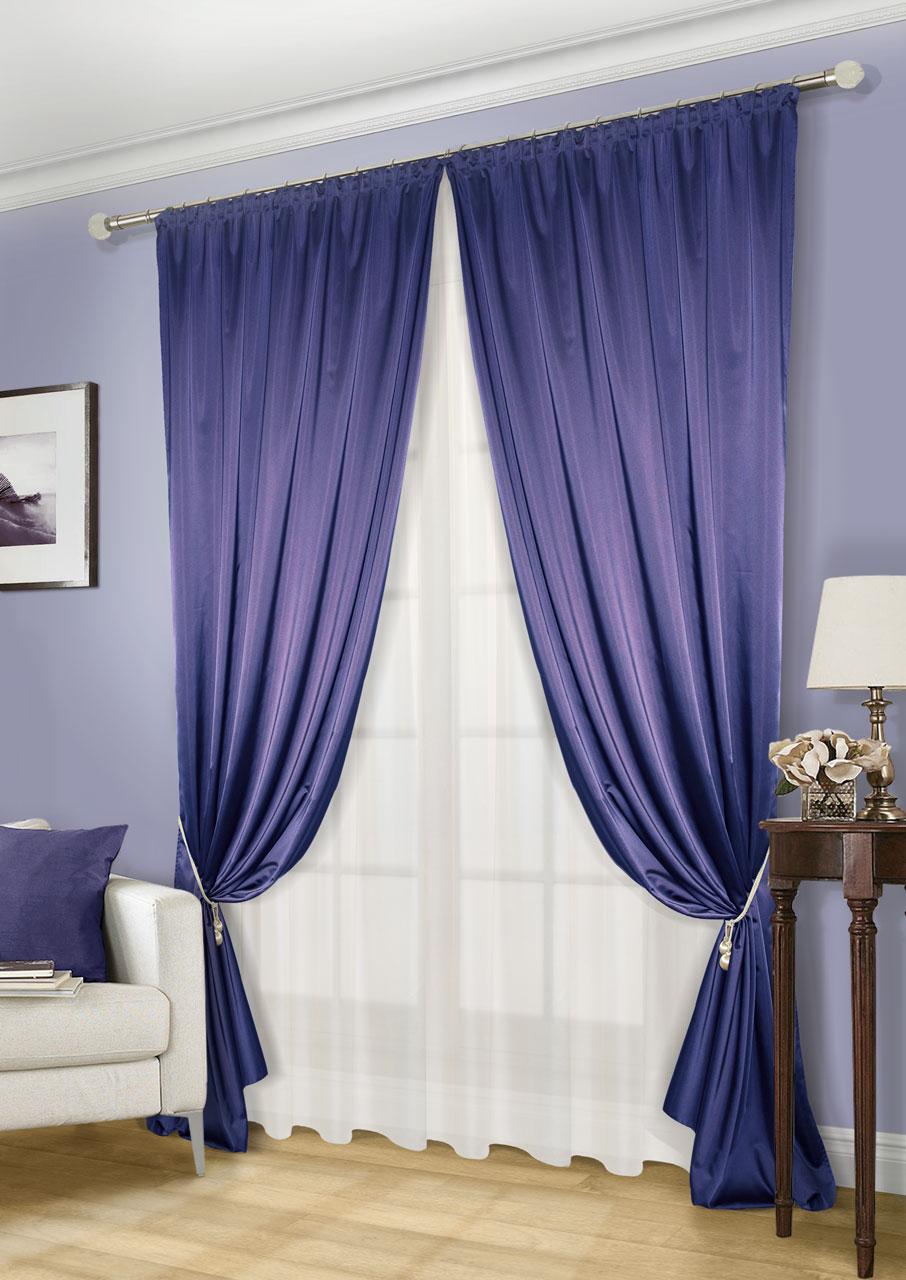 Комплект штор Kauffort Линд-C, на ленте, цвет: синий, экрю, высота 260 см. UN123300645UN123300645Роскошный комплект штор Kauffort Линд-C, выполненный из полиэстера, великолепно украсит любое окно. Комплект состоит из 2 штор и тюля. Шторы выполнены из плотной ткани с шелковистой текстурой и приятным блеском. Тюль изготовлен из легкой и воздушной вуали. Тонкое плетение, оригинальный дизайн и нежная цветовая гамма привлекут к себе внимание и органично впишутся в интерьер комнаты. Все предметы комплекта оснащены шторной лентой для красивой сборки.