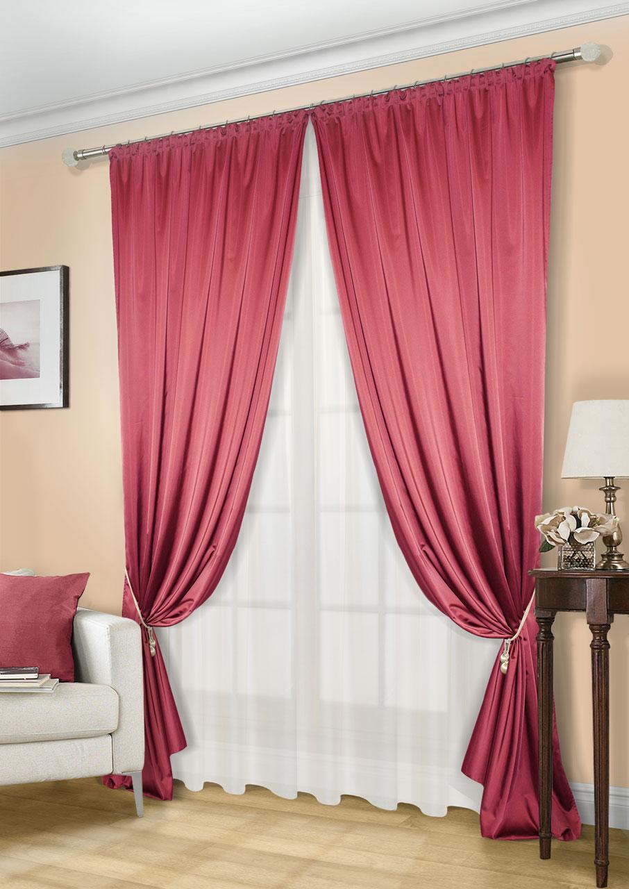 Комплект штор Kauffort Линд-C, на ленте, цвет: красный, экрю, высота 260 см. UN123300673UN123300673Роскошный комплект штор Kauffort Линд-C, выполненный из полиэстера, великолепно украсит любое окно. Комплект состоит из 2 штор и тюля. Шторы выполнены из плотной ткани с шелковистой текстурой и приятным блеском. Тюль изготовлен из легкой и воздушной вуали. Тонкое плетение, оригинальный дизайн и нежная цветовая гамма привлекут к себе внимание и органично впишутся в интерьер комнаты. Все предметы комплекта оснащены шторной лентой для красивой сборки.