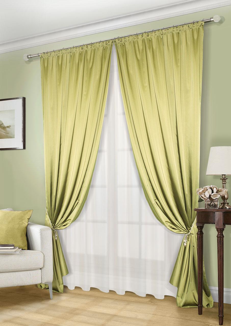 Комплект штор Kauffort Линд-C, на ленте, цвет: зеленый, экрю, высота 260 см. UN123300680UN123300680Роскошный комплект штор Kauffort Линд-C, выполненный из полиэстера, великолепно украсит любое окно. Комплект состоит из 2 штор и тюля. Шторы выполнены из плотной ткани с шелковистой текстурой и приятным блеском. Тюль изготовлен из легкой и воздушной вуали. Тонкое плетение, оригинальный дизайн и нежная цветовая гамма привлекут к себе внимание и органично впишутся в интерьер комнаты. Все предметы комплекта оснащены шторной лентой для красивой сборки.