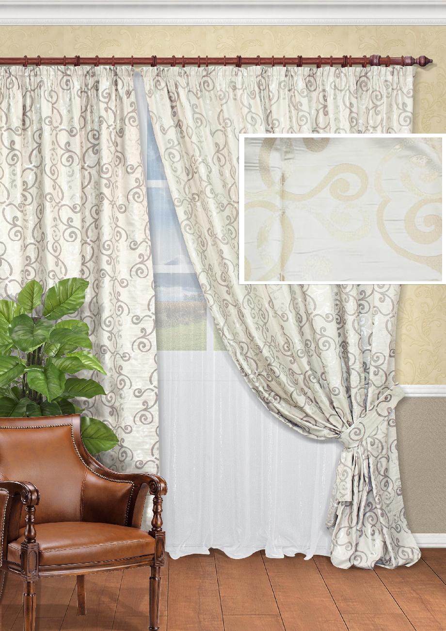 Комплект штор Kauffort Шармони-C, на ленте, цвет: бежевый, высота 270 см. UN123324620UN123324620Роскошный комплект штор Kauffort Шармони-C, выполненный из полиэстера, великолепно украсит любое окно. Комплект состоит из двух штор и тюля. Плотная ткань и приятная, приглушенная гамма с витыми узорами привлекут к себе внимание и органично впишутся в интерьер помещения. Этот комплект будет долгое время радовать вас и вашу семью! Шторы и тюль крепятся на карниз при помощи ленты, которая поможет красиво и равномерно задрапировать верх. Шторы можно зафиксировать в одном положении с помощью подхватов с двумя петельками для настенных крючков. Размер подхвата (Д х Ш): 93 см х 8 см.