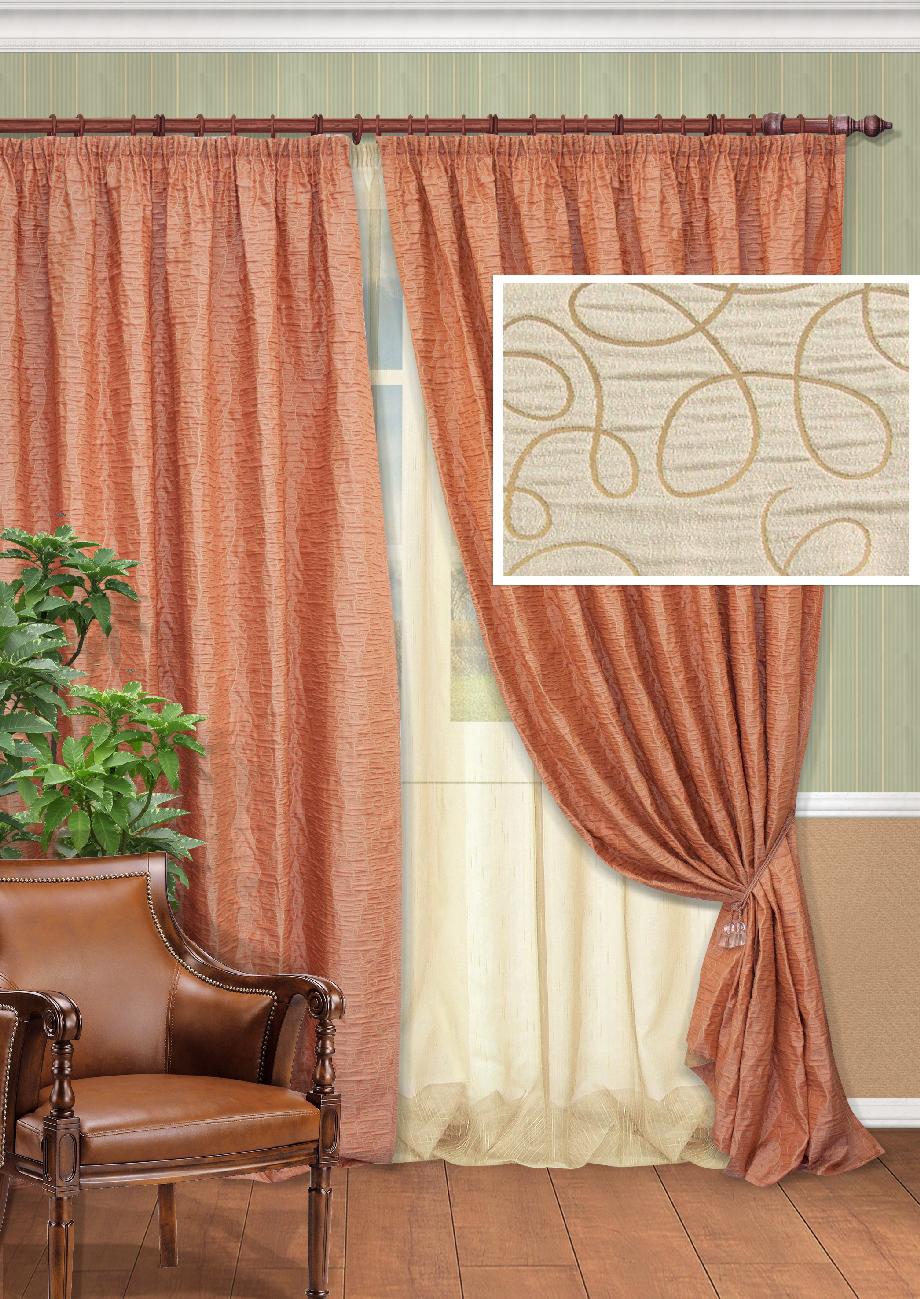 Комплект штор Kauffort Синтара-C, на ленте, цвет: бежевый, высота 270 см. UN123328615UN123328615Роскошный комплект штор Kauffort Синтара-C, выполненный из полиэстера, великолепно украсит любое окно. Комплект состоит из двух штор и тюля. Плотная ткань и приятная, приглушенная гамма с витыми узорами привлекут к себе внимание и органично впишутся в интерьер помещения. Этот комплект будет долгое время радовать вас и вашу семью! Все предметы комплекта крепятся на карниз при помощи ленты, которая поможет красиво и равномерно задрапировать верх.