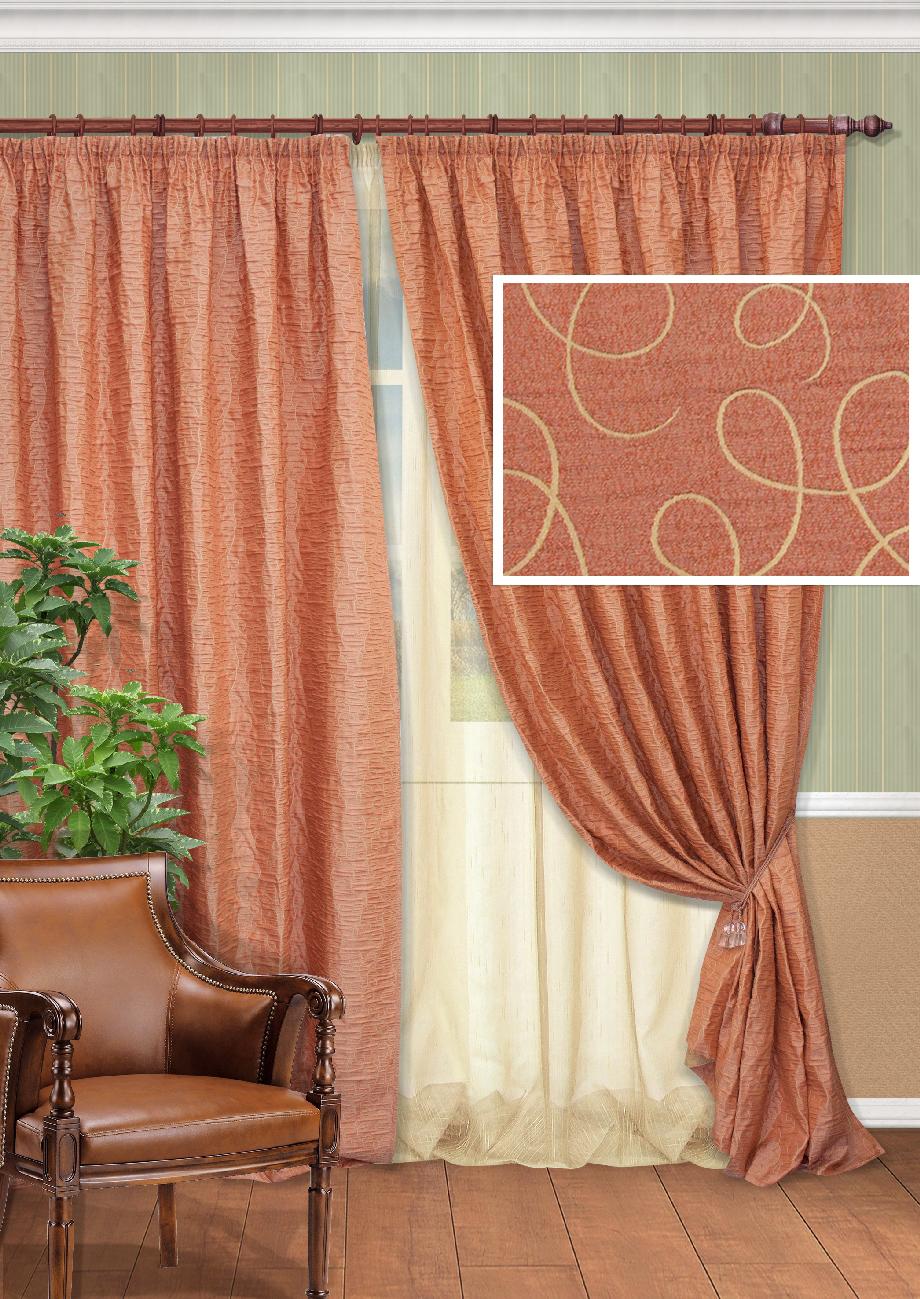 Комплект штор Kauffort Синтара-C, на ленте, цвет: бордо, высота 270 см. UN123328670UN123328670Роскошный комплект штор Kauffort Синтара-C, выполненный из полиэстера, великолепно украсит любое окно. Комплект состоит из двух штор и тюля. Плотная ткань и приятная, приглушенная гамма с витыми узорами привлекут к себе внимание и органично впишутся в интерьер помещения. Этот комплект будет долгое время радовать вас и вашу семью! Все предметы комплекта крепятся на карниз при помощи ленты, которая поможет красиво и равномерно задрапировать верх.