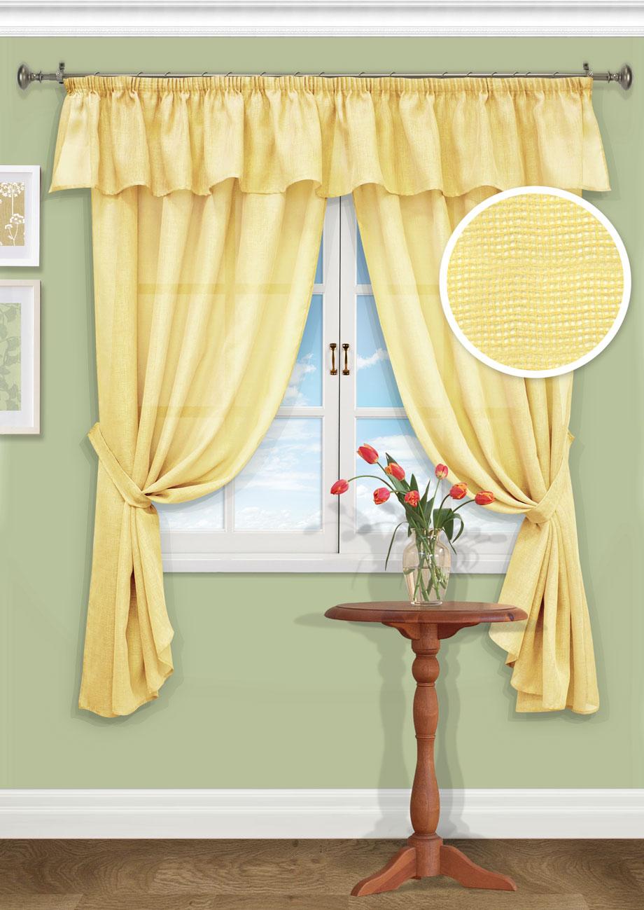 Комплект штор Kauffort Эстелла, на ленте, цвет: желтый, высота 185 см. UN123600150UN123600150Роскошный комплект штор Kauffort Эстелла, выполненный из полиэстера, великолепно украсит любое окно. Комплект состоит из 2 штор, ламбрекена и 2 подхватов. Изделия выполнены из плотной однотонной ткани. Тонкое плетение, оригинальный дизайн и нежная цветовая гамма привлекут к себе внимание и органично впишутся в интерьер комнаты. Все предметы комплекта - на шторной ленте для собирания в сборки.