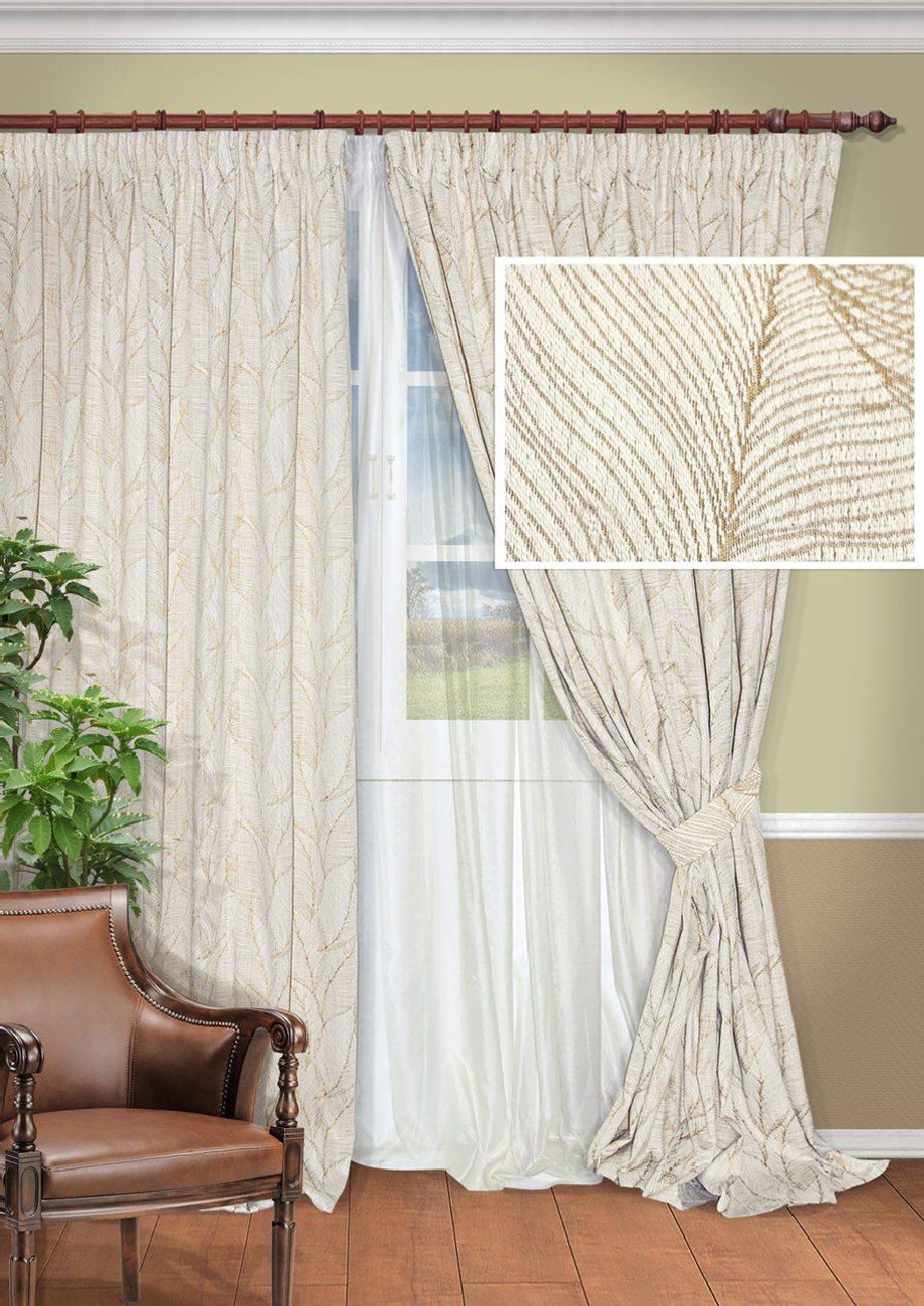 Комплект штор Kauffort Виктория, на ленте, цвет: белый, бежевый, высота 275 см. UN128001620UN128001620Роскошный комплект штор Kauffort Виктория, выполненный из полиэстера и хлопка, великолепно украсит любое окно. Комплект состоит из 2 штор, тюля и 2 подхватов. Изделия выполнены из плотной ткани и имеют красивый узор в виде листиков. Тонкое плетение, оригинальный дизайн и нежная цветовая гамма привлекут к себе внимание и органично впишутся в интерьер комнаты. Все предметы комплекта - на шторной ленте для собирания в сборки.