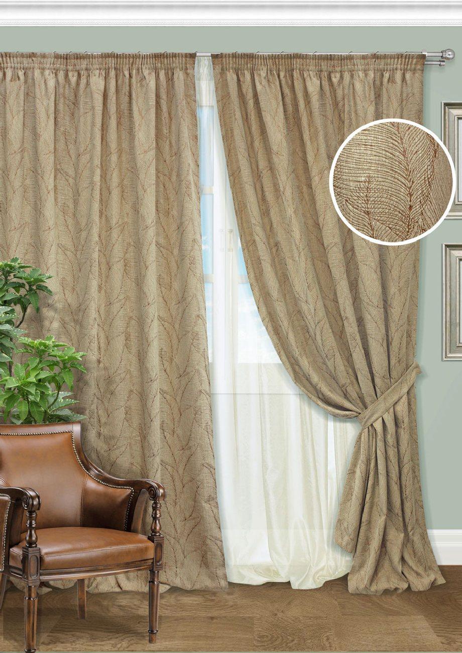 Комплект штор Kauffort Виктория, на ленте, цвет: медный, золотистый, высота 275 см. UN128001630UN128001630Роскошный комплект штор Kauffort Виктория, выполненный из полиэстера и хлопка, великолепно украсит любое окно. Комплект состоит из 2 штор, тюля и 2 подхватов. Изделия выполнены из плотной ткани и имеют красивый узор в виде листиков. Тонкое плетение, оригинальный дизайн и нежная цветовая гамма привлекут к себе внимание и органично впишутся в интерьер комнаты. Все предметы комплекта - на шторной ленте для собирания в сборки.