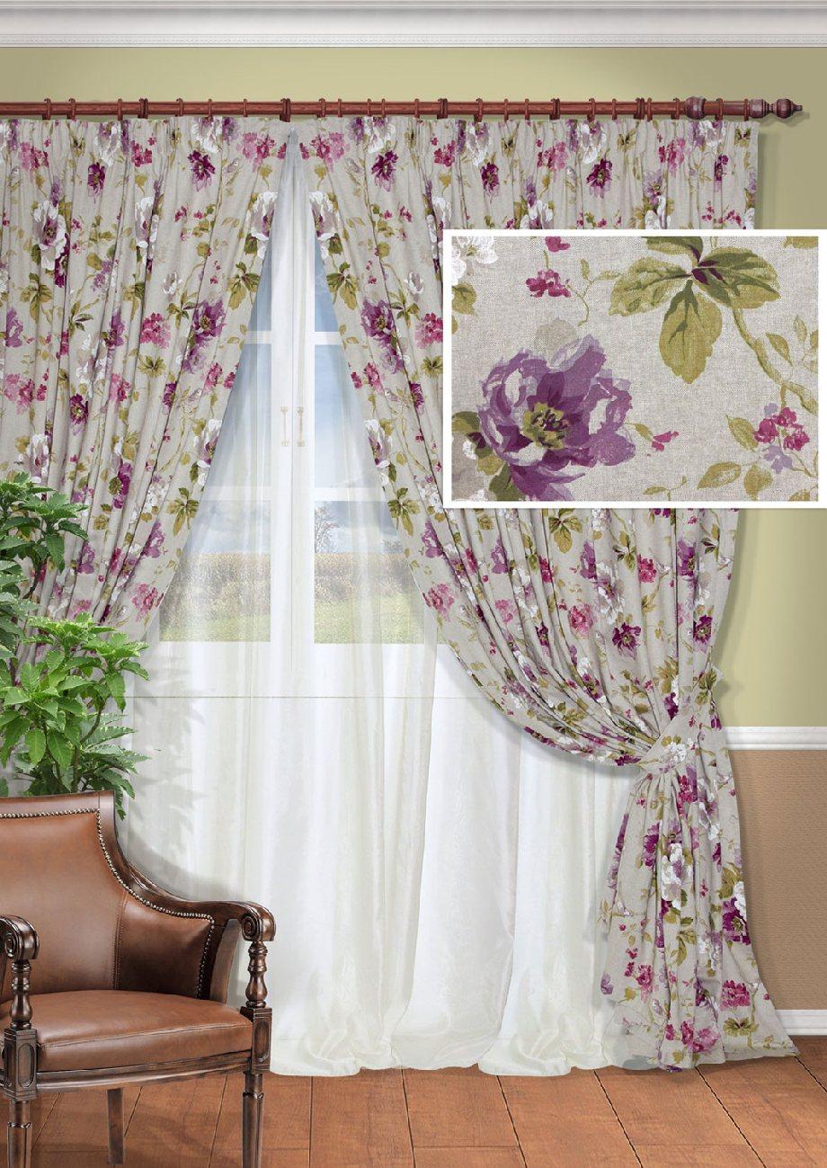 Комплект штор Kauffort Сенигалия, на ленте, цвет: серый, сиреневый, высота 275 см. UN128002615UN128002615Роскошный комплект штор Kauffort Сенигалия, выполненный из полиэстера и хлопка, великолепно украсит любое окно. Комплект состоит из 2 штор, тюля и 2 подхватов. Изделия выполнены из плотной ткани с цветочным орнаментом. Тонкое плетение, оригинальный дизайн и нежная цветовая гамма привлекут к себе внимание и органично впишутся в интерьер комнаты. Все предметы комплекта - на шторной ленте для собирания в сборки.