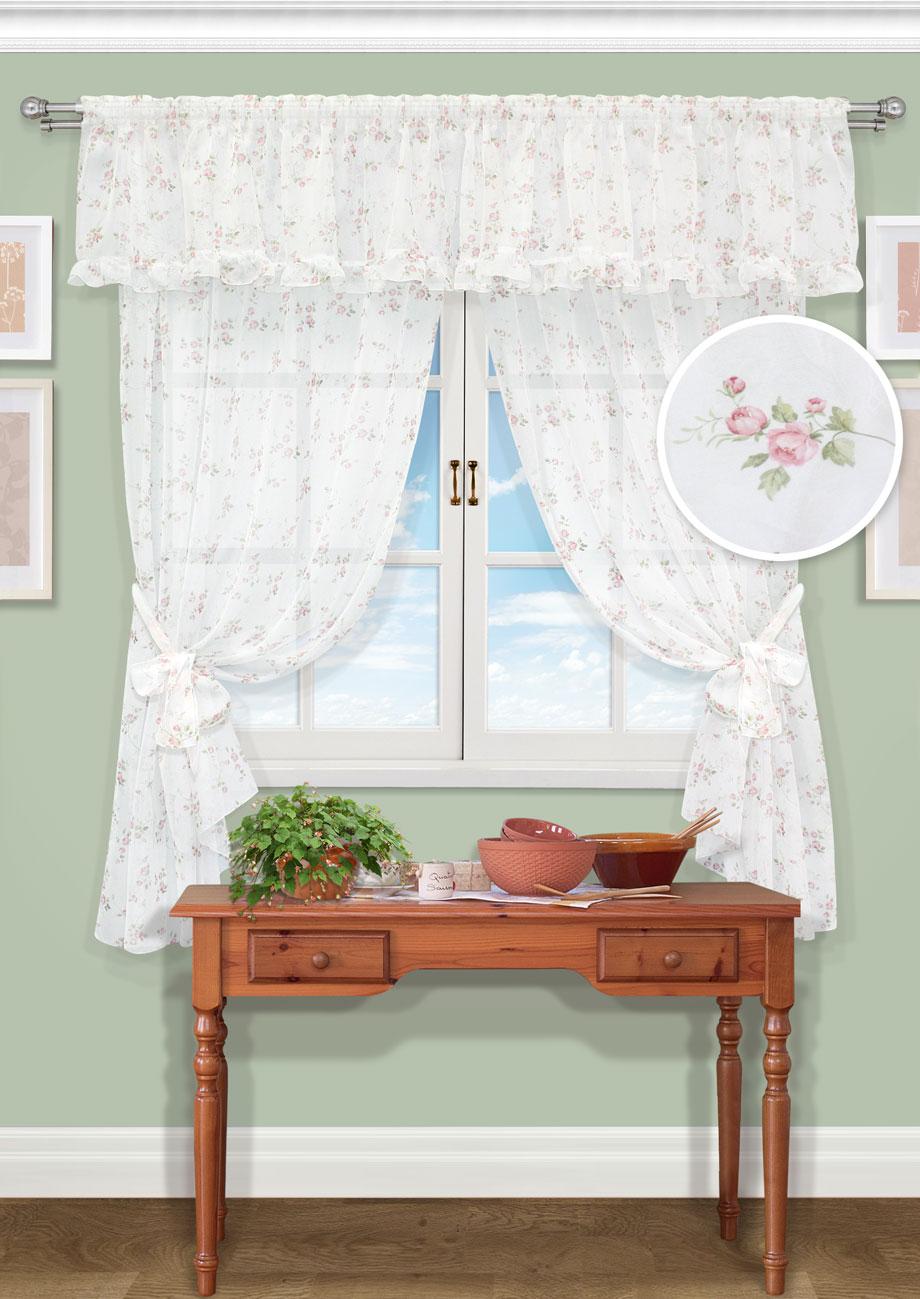 Комплект штор Kauffort Мурсия-С, на ленте, цвет: белый, розовый, высота 185 см. UN123618170UN123618170Роскошный комплект штор Kauffort Мурсия-С, выполненный из полиэстера, великолепно украсит любое окно. Комплект состоит из 2 портьер, ламбрекена и 2 подхватов. Изделия выполнены из прозрачной ткани с цветочным орнаментом. Тонкое плетение, оригинальный дизайн и нежная цветовая гамма привлекут к себе внимание и органично впишутся в интерьер комнаты. Все предметы комплекта - на шторной ленте для собирания в сборки.