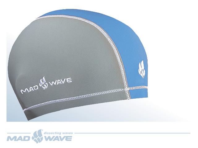 """MadWave Шапочка для плавания Mad Wave """"Lycra Doutone"""", цвет: серый, синий"""