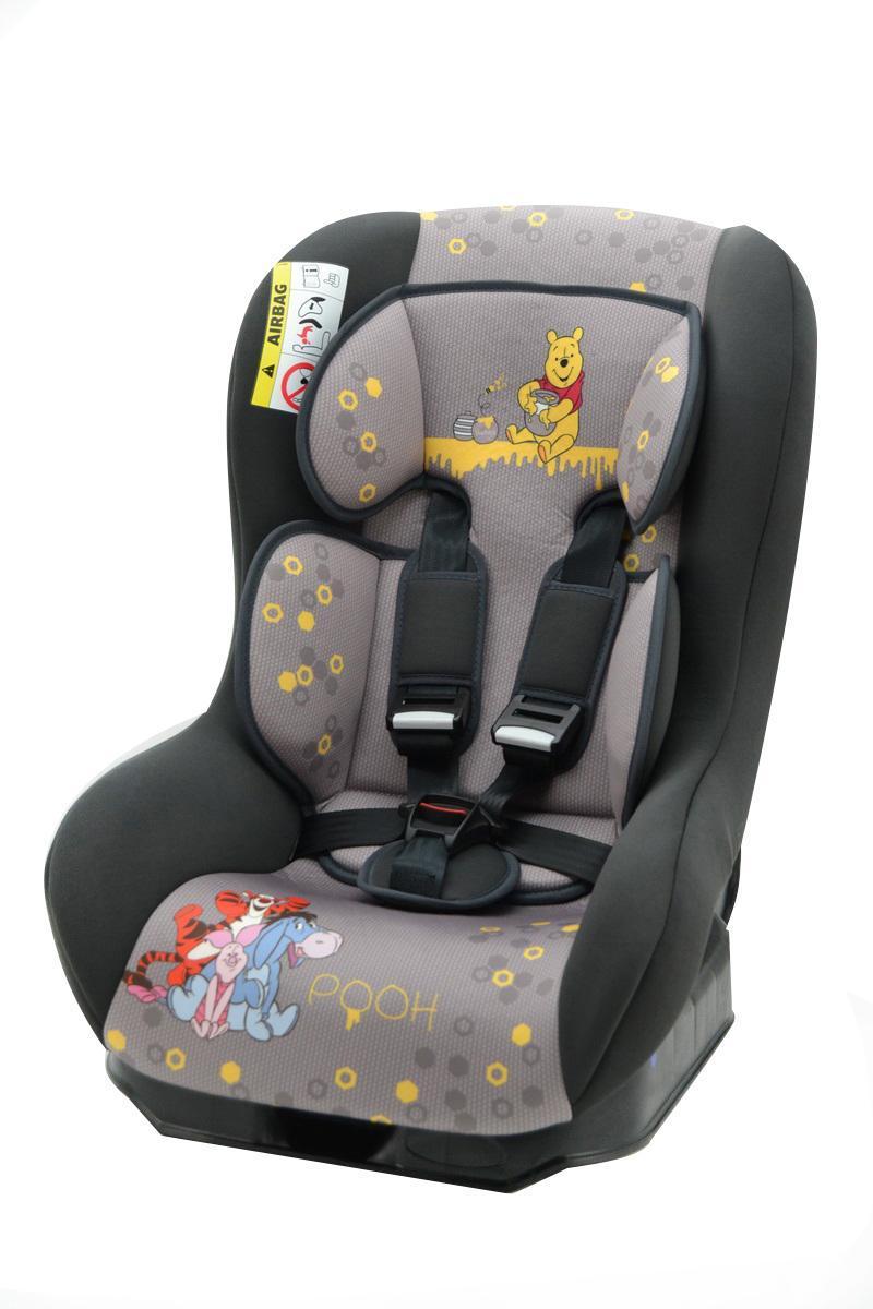 Автокресло Nania Driver гр.0-1 Winnie the pooh Disney43311Когда вес ребенка достигнет 9-ти кг, кресло следует устанавливать лицом в направлении движения автомобиля, однако только на заднем сиденье. Конструкция авто-кресел этой группы представляет собой пластиковую основу на силовом каркасе. Благодаря тому, что наклон спинки можно регулировать, малыш сможет спокойно спать во время долгих путешествий.