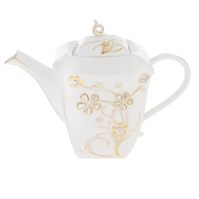 Чайник заварочный Briswild Золотое дерево, 2 л. 595-246595-246Чайник заварочный Briswild Золотое дерево изготовлен из высококачественного фарфора белого цвета. Чайник декорирован золотистым рельефным изображением цветов и стразами. Такой дизайн, несомненно, придется по вкусу любителям классики и тем кто ценит красоту и изящество. Чайник заварочный Briswild Золотое дерево украсит ваш кухонный стол, а также станет замечательным подарком к любому празднику. Не использовать в микроволновой печи. Не применять абразивные чистящие вещества. Размеры чайника без крышки (ДхШхВ): 27 см х 14 см х 16 см.