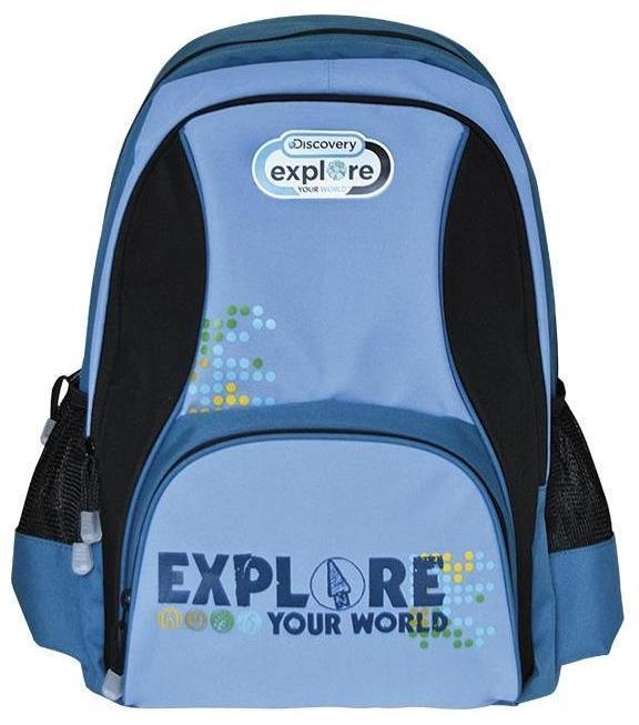 Рюкзак DISCOVERY, разм.46х32х14,50 см, рельефная анатомическая спинка, тёмно-синий с голубым