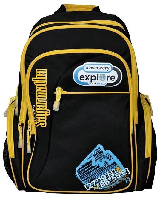 Рюкзак Discovery, цвет: черный, желтый . DV-AB11055/2/14DV-AB11055/2/14Рюкзак Discovery с жесткой уплотненной спинкой имеет два основных отделения на молнии. На лицевой стороне - дополнительный карман на молнии для электронных книжек, ipad и других гаджетов. По бокам — объемные карманы на молнии с сетчатым дополнительным отделением. Широкие уплотненные лямки регулируются снизу.