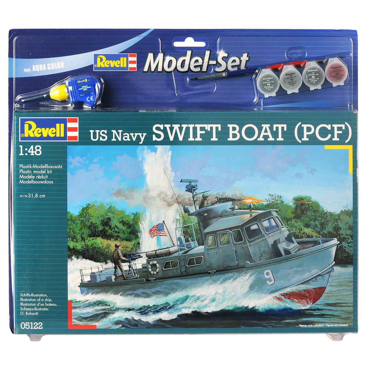 Набор для сборки и раскрашивания модели Revell Плоскодонное судно US Navy Swift Boat (PCF)05122Набор для сборки и раскрашивания модели Revell Плоскодонное судно US Navy Swift Boat (PCF) вы и ваш ребенок сможете собрать уменьшенную копию одноименного судна и раскрасить ее. Плоскодонное судно US Navy Swift Boat известно как быстрая лодка. Длина 15 м, низкая осадка. Эксплуатировалась ВМС США. Применялась во Вьетнаме и внутренних водах Миконга. Набор включает в себя 62 пластиковых элемента для сборки модели, краски четырех цветов, клей, двустороннюю кисточку и схематичную инструкцию по сборке. Благодаря набору ваш ребенок научится различать цвета, творчески решать поставленные задачи, разовьет интеллектуальные и инструментальные способности, воображение, конструктивное мышление, внимание, терпение и кругозор. Уровень сложности: 3.