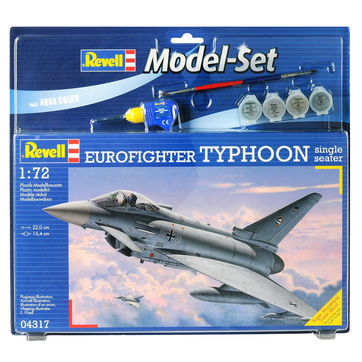 Набор для сборки и раскрашивания модели Revell Самолет Eurofighter Typhoon, 1 пилот04317Набор для сборки и раскрашивания модели Revell Самолет Eurofighter Typhoon вы и ваш ребенок сможете собрать уменьшенную копию одноименного самолета. Опытный образец самолета четвертого поколения впервые поднялся в воздух в 1994 году. С 2003 года Eurofighter стал поступать в эскадрильи ВВС ряда европейских стран. Всего было построено 355 машин. Самолет вооружен 27-мм пушкой Маузер BK-27. Кроме того Eurofighter способен нести ракеты и бомбы общим весом в 6500 кг. Набор включает в себя 170 пластиковых элементов для сборки модели, краски четырех цветов, двустороннюю кисточку, клей, фигуру пилота и схематичную инструкцию по сборке. Благодаря набору ваш ребенок научится различать цвета, творчески решать поставленные задачи, разовьет интеллектуальные и инструментальные способности, воображение, конструктивное мышление, внимание, терпение и кругозор. Уровень сложности: 4.