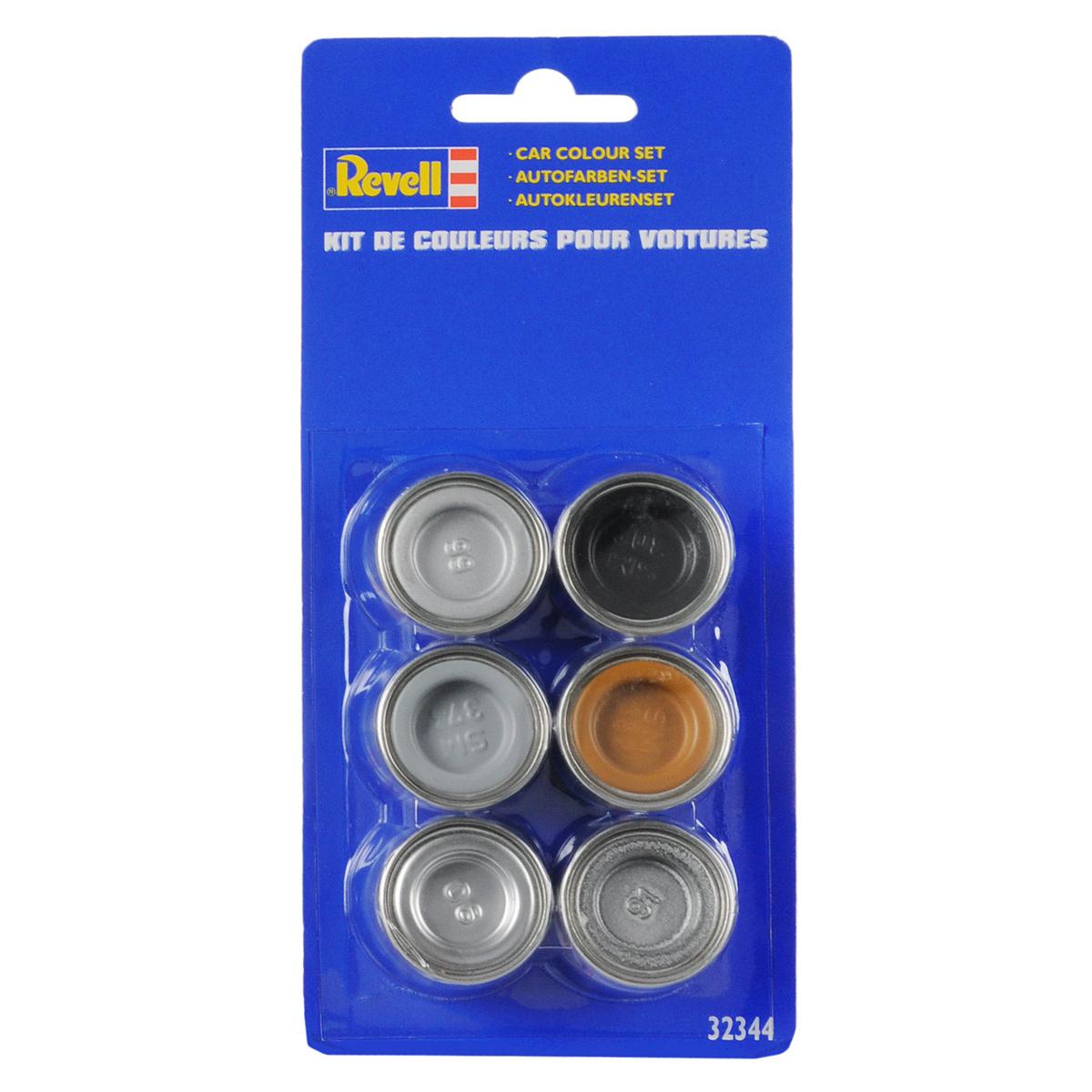 Revell Набор красок для автомобилей32344Краски для моделей Revell - это высококачестный материал для покраски ваших моделей. В базовый набор входит 6 мини-баночек с краской, каждая из которых имеет объем в 14 мл. Номера красок: 90, 91, 99, SM 302, SM 374, SM 382.