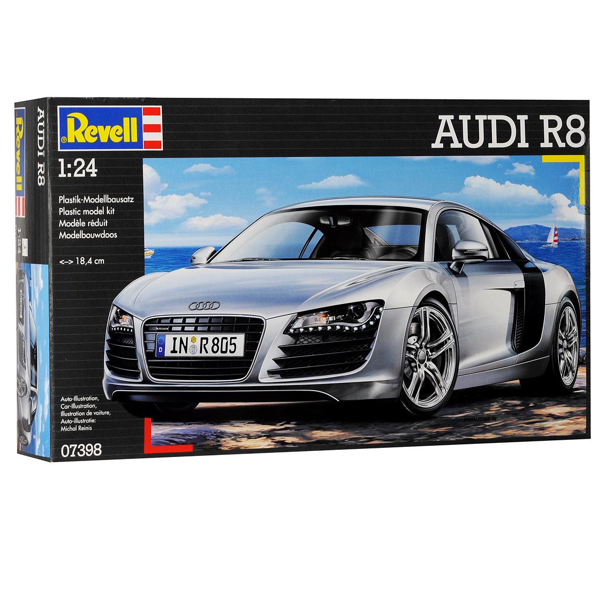 Сборная модель Revell Автомобиль Audi R807398Сборная модель Revell Автомобиль Audi R8 поможет вам и вашему ребенку придумать увлекательное занятие на долгое время. Набор включает в себя 106 пластиковых элементов, из которых можно собрать достоверную уменьшенную копию одноименного немецкого автомобиля. Также в наборе схематичная инструкция по сборке. Audi R8 - среднемоторный полноприводный суперкар, производимый немецким автопроизводителем Audi с 2007 года. Впервые представлен в 2006 году на Парижском автосалоне. Модель R8, как и ряд других моделей автоконцерна Audi производится исключительно на заводе quattro GmbH - дочернем предприятии Audi AG, которая, в свою очередь, является частью концерна Volkswagen AG. Предприятие базируется в Неккарзульме недалеко от Штутгарта. Производственные цеха расположены на территории прекратившего деятельность завода NSU Motorenwerke AG, известного мировым первенством в применении бесклапанного роторного двигателя в 1970-х годах. Процесс сборки развивает...