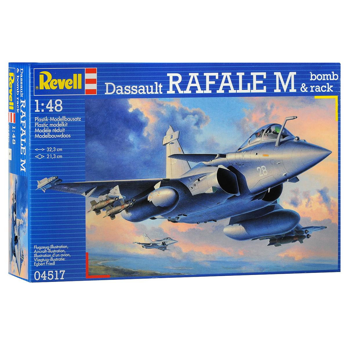 """Сборная модель Revell Самолет-истребитель Dassault Rafale M04517Сборная модель Revell Самолет-истребитель Dassault Rafale M поможет вам и вашему ребенку придумать увлекательное занятие на долгое время. Набор включает в себя 204 пластиковых элемента, из которых можно собрать достоверную уменьшенную копию одноименного самолета. Также в наборе схематичная инструкция по сборке. Сборная модель французского многоцелевого самолета Dassault Rafale. Этот истребитель четвертого поколения был разработан в 1986 году. Первые машины поступили на вооружение ВМС Франции в 2004 году. Всего было построено 111 машин. Активно применялся во время операции НАТО в Афганистане в марте 2007 года. Помимо этого """"Рафали"""" приняли участие в операции по свержению режима Муамара Каддафи в Ливии. На данный момент ведется производство экспортного варианта для ВВС Индии. Процесс сборки развивает интеллектуальные и инструментальные способности, воображение и конструктивное мышление, а также прививает практические навыки работы со схемами и..."""