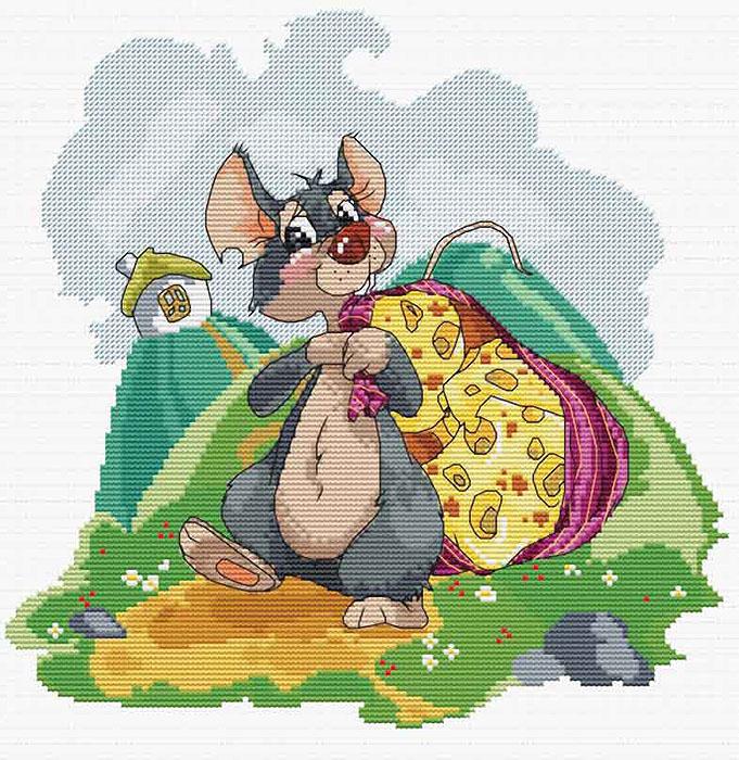 Набор для вышивания крестом Мышка с сыром, 31 см х 31 см. 141-14141-14