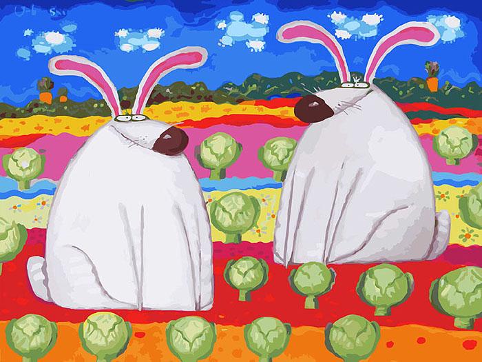 Живопись на холсте Веселые зайцы, 30 х 40 см774-AS Весёлые зайцыЖивопись на холсте Веселые зайцы - это набор для раскрашивания по номерам акриловыми красками на холсте. Автор картины Роман Урбинский. В набор входят: - холст на подрамнике с нанесенным рисунком, - пробный лист с нанесенным рисунком, - набор акриловых красок, - 3 кисти, - настенное крепление для готовой картины. Каждая краска имеет свой номер, соответствующий номеру на картинке. Нужно только аккуратно нанести необходимую краску на отмеченный для нее участок. Таким образом, шаг за шагом у вас получится великолепная картина. С помощью серии наборов Живопись на холсте вы можете стать настоящим художником и создателем прекрасных картин. Вы получите истинное удовольствие от погружения в процесс творчества и созданные своими руками картины украсят интерьер вашего дома или станут прекрасным подарком. Техника раскрашивания на холсте по номерам дает возможность легко рисовать даже сложные сюжеты. Прекрасно развивает художественный...