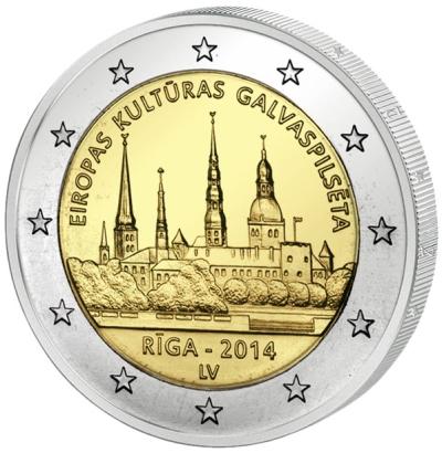 Монета номиналом 2 евро Рига - культурная столица Европы. Латвия. 2014 год656Состояние: UNC Вес: 8,5 гр. Диаметр: 25,75 мм. Материал: биметалл Тираж: 1.000.000 шт.