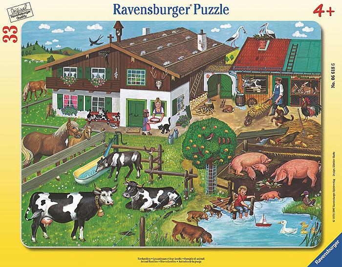 Ravensburger Пазл Животные на ферме06618Пазл Ravensburger Животные на ферме, без сомнения, придется по душе вашему малышу. Собрав этот пазл, состоящий из 33 элементов, ребенок получит красочную картинку с изображением множества разнообразных домашних животных на ферме. Элементы пазла заключены в прочную картонную рамку. Элементы пазла созданы специально для детей и имеют увеличенные размеры, что делает их удобными для маленьких ручек малыша, а также исключает возможность случайного проглатывания. Неизменное немецкое качество исполнения этого пазла порадует даже самого взыскательного поклонника этого увлекательного хобби. Пазлы - прекрасное антистрессовое средство для взрослых и замечательная развивающая игра для детей. Собирание пазла развивает у ребенка мелкую моторику рук, тренирует наблюдательность, логическое мышление, знакомит с окружающим миром, с цветом и разнообразными формами, учит усидчивости и терпению, аккуратности и вниманию. Собирание пазла - прекрасное времяпрепровождение для всей семьи.